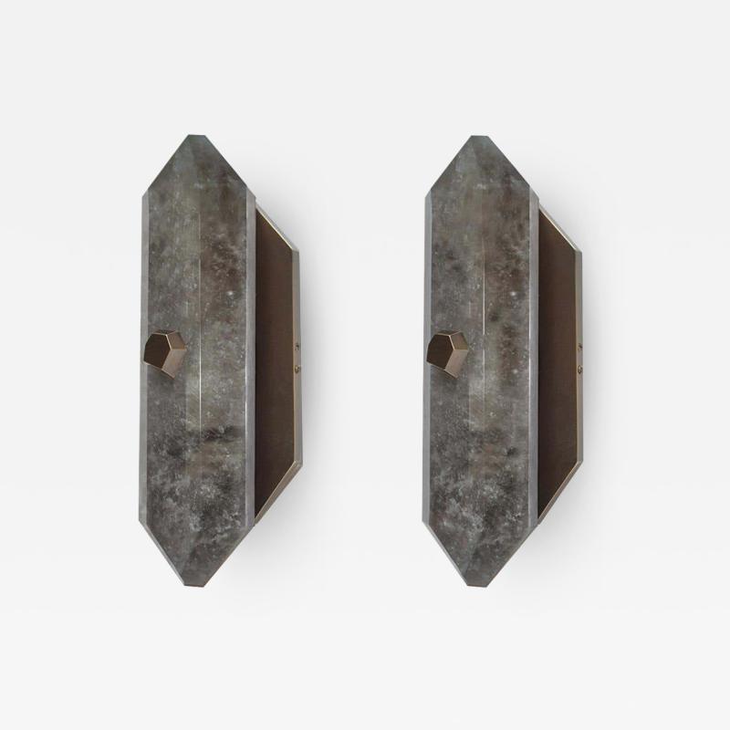 Diamond Form Smoky Rock Crystal Sconces by Phoenix