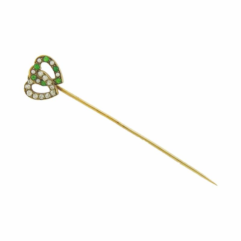 Diamond Garnet Hearts Stick Pin