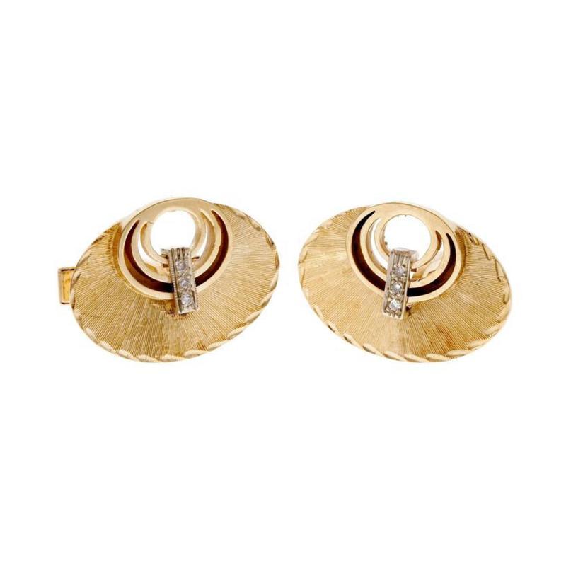 Diamond Gold Oval Textured Cufflinks