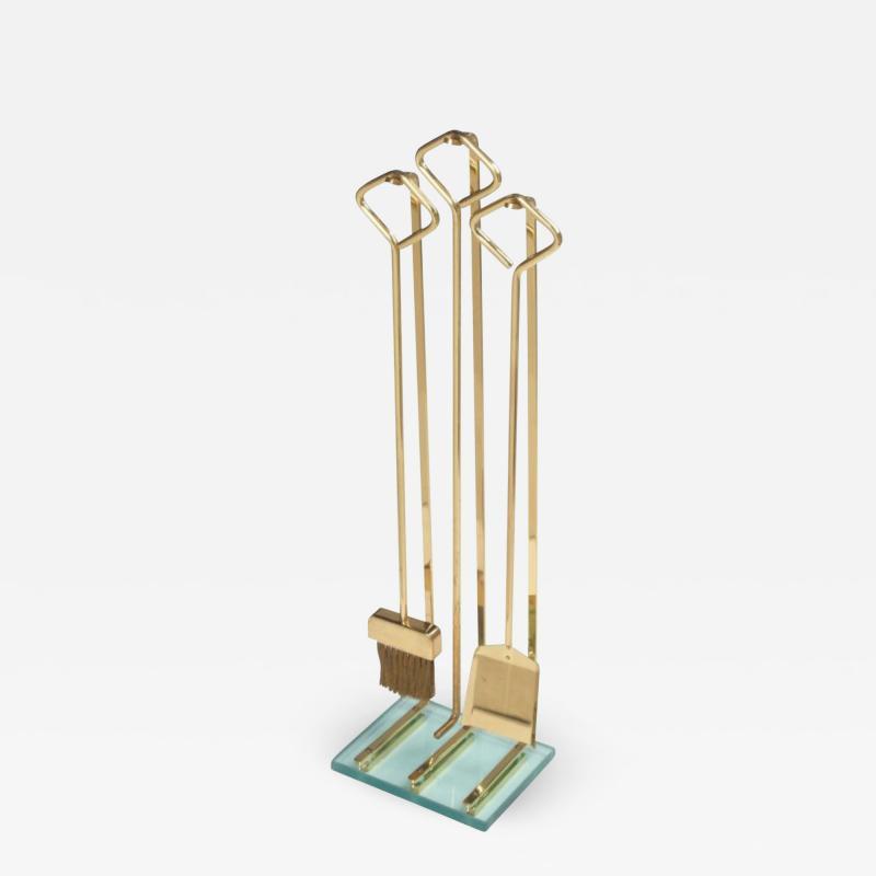 Diamond Handle Brass Fireplace Tool Set