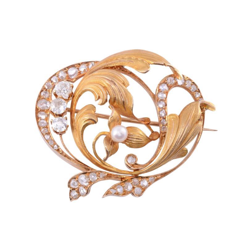 Diamond Pearl 18K Gold Brooch
