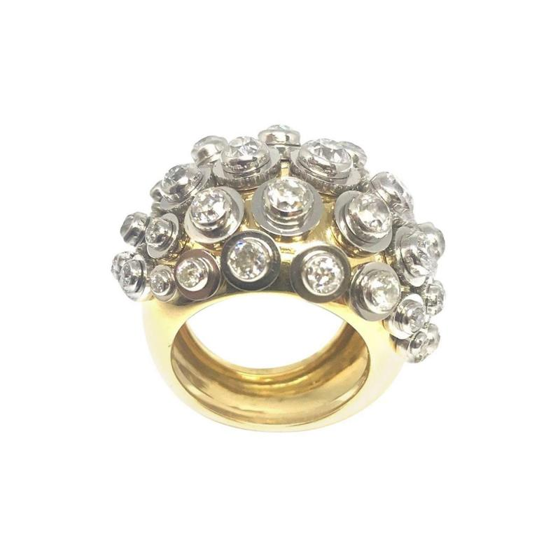 Diamond Platinum Gold Sputnik Ring