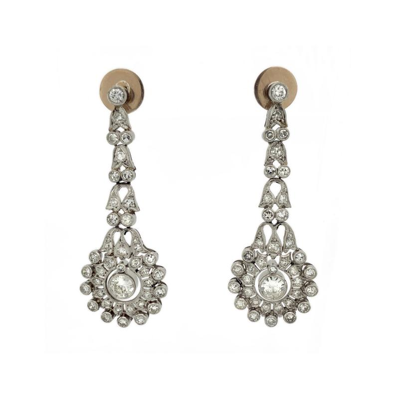 Diamond Platinum Wreath Drop Earrings