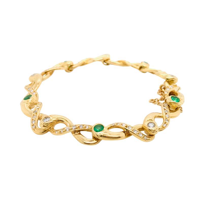 Diamonds and Emerald Yellow Golg 18 K Retro Bracelet