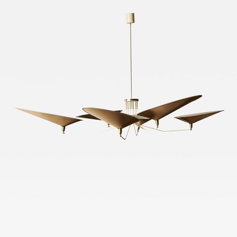 Diego Mardegan Oval Brass and Parchment Chandelier by Diego Mardegan for Glustin Luminaires