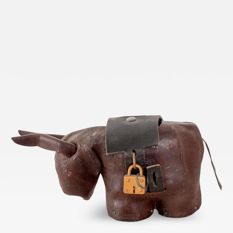 Dimitri Omersa Leather Donkey Mule Money Coin Bank style Dimitri Omersa made England