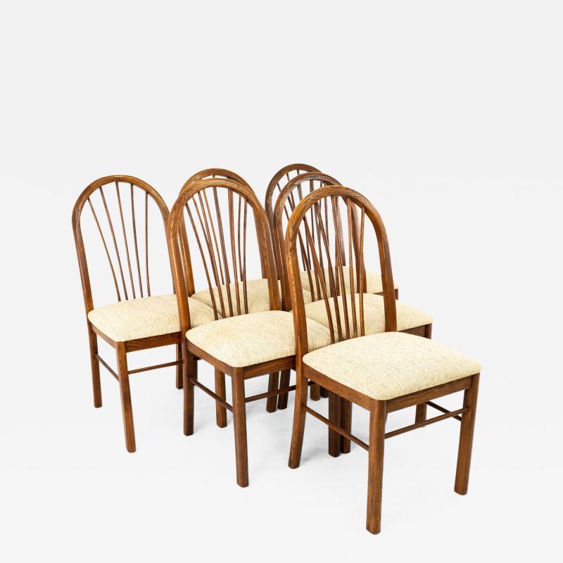 Dinaire Mid Century Walnut Dining Chairs Set of 6