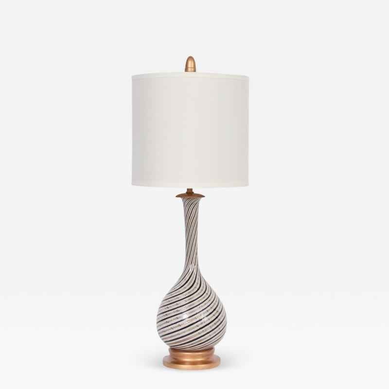 Dino Martens Tall Dino Martens Aureliano Toso Glass Table Lamp with Copper Swirl