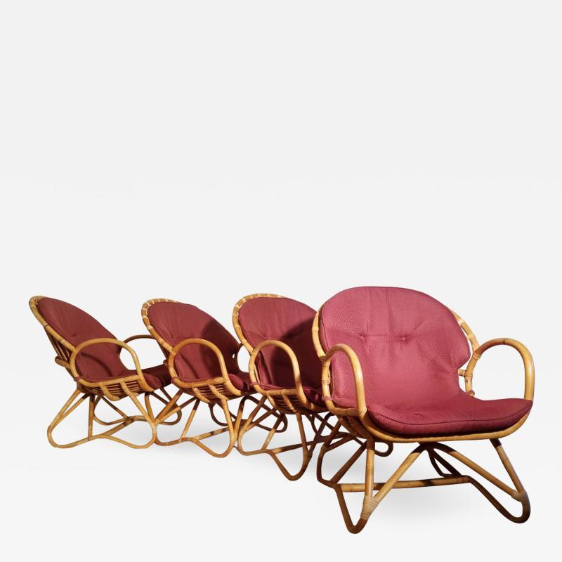 Dirk van Sliedregt Set of Four Rattan Lounge Chairs Center Table Dirk van Sliedregt 1960s
