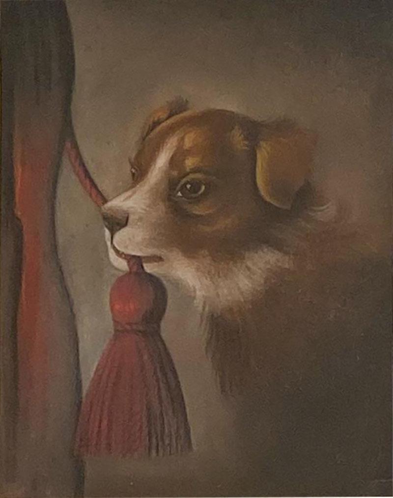 Dog Oil Painting American Circa 19th Century