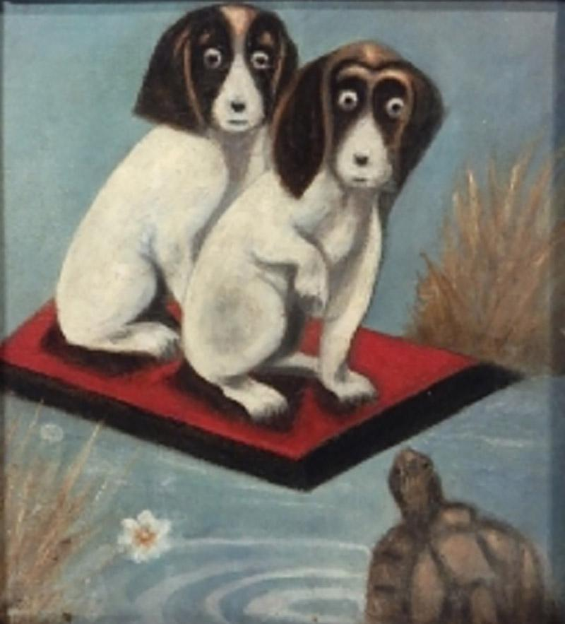 Dogs And a Turtle Folk Art Painting
