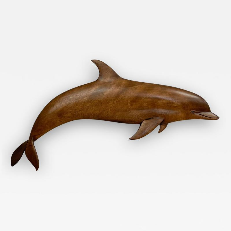 Dolphin Wood Wall Sculpture by Rob Roy Red Birch San Diego CA 6 94