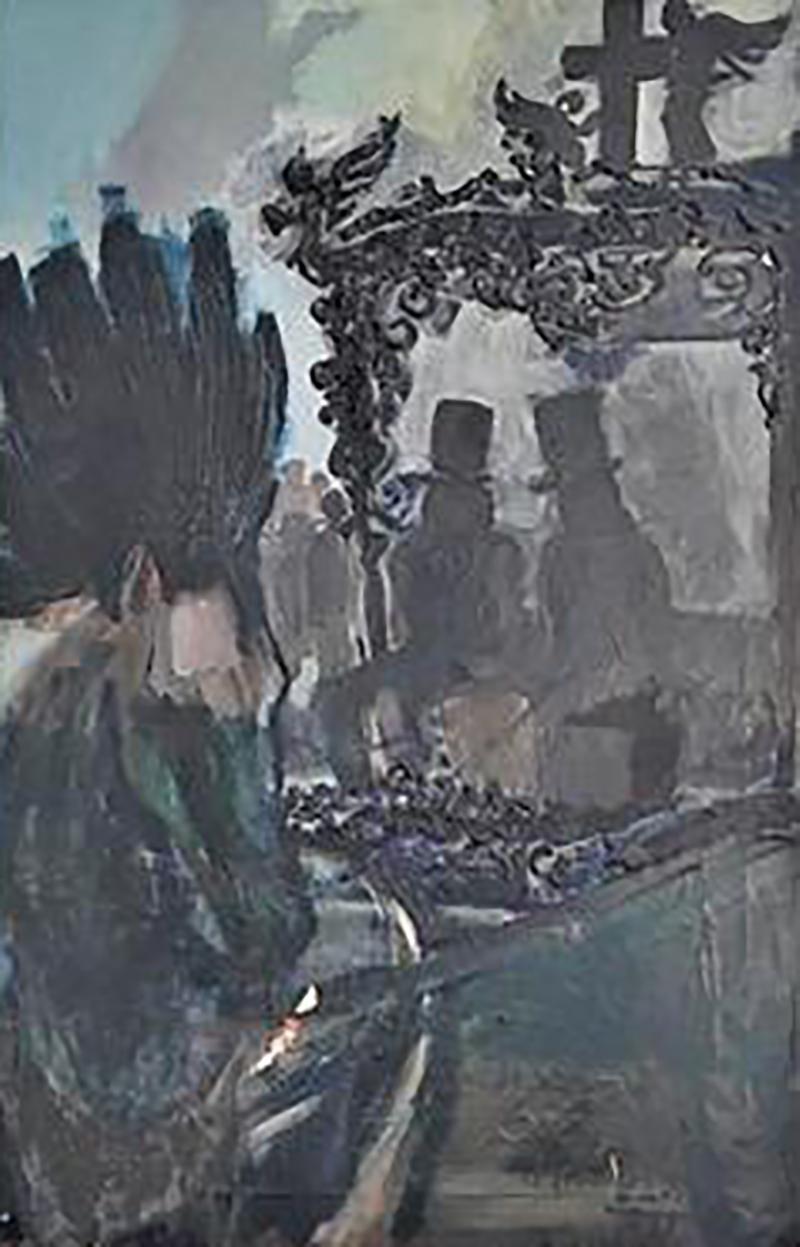 Domingo Barreres Signed Atmospheric Domingo Barreres Funeral Painting