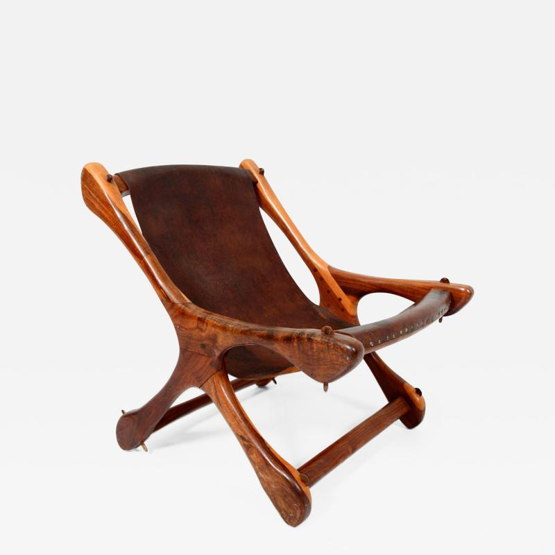Don Shoemaker Don S Shoemaker Vintage Aged Leather Lounge Sloucher Sling Chair Mexico