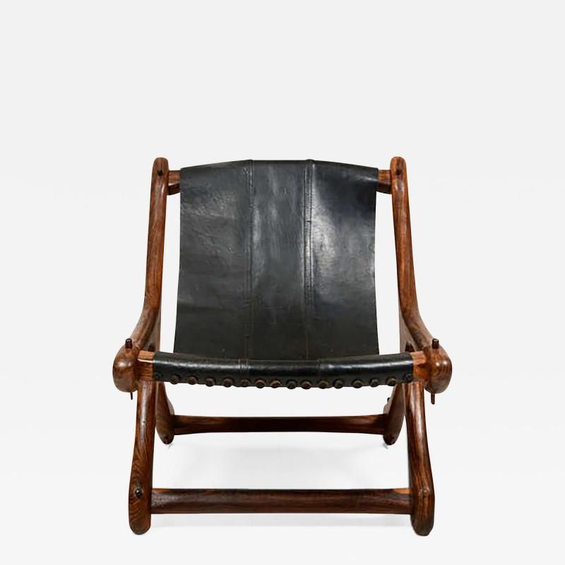 Don Shoemaker Don Shoemaker Exotic Wood SLOUCHER Leather Sling Chair for Senal MEXICO 1960s