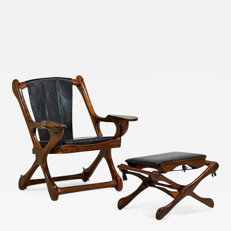 Don Shoemaker Rosewood and Leather Lounge Chair and Ottoman Don Shoemaker