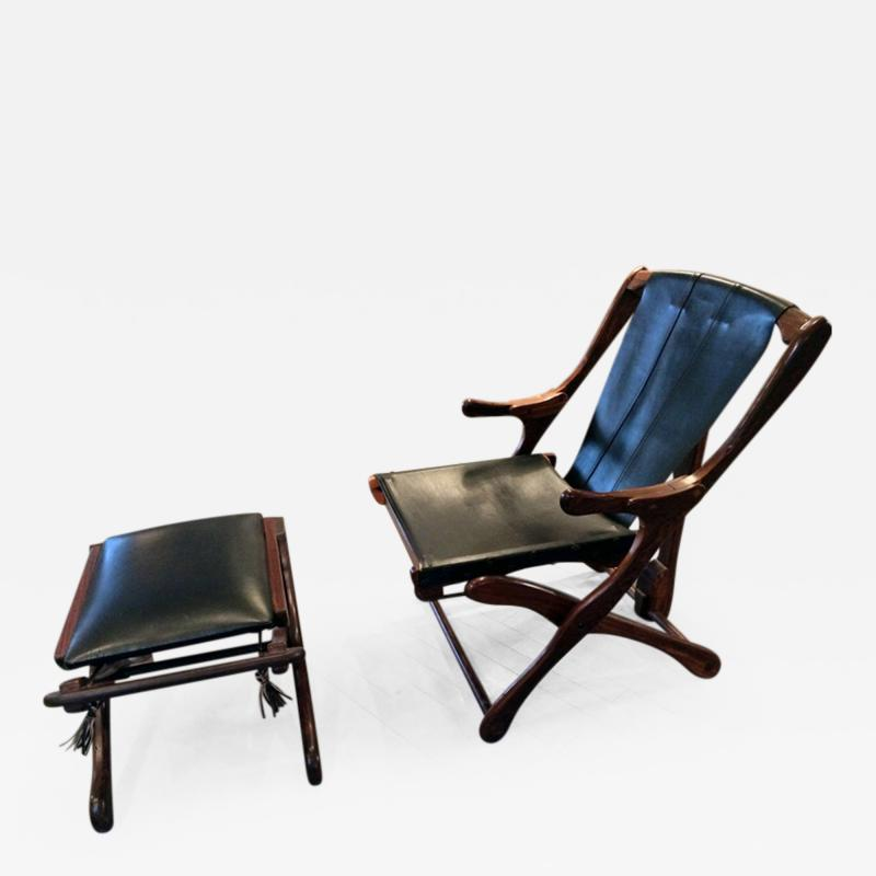 Don Shoemaker Rosewood and Leather Lounge Chair with Ottoman