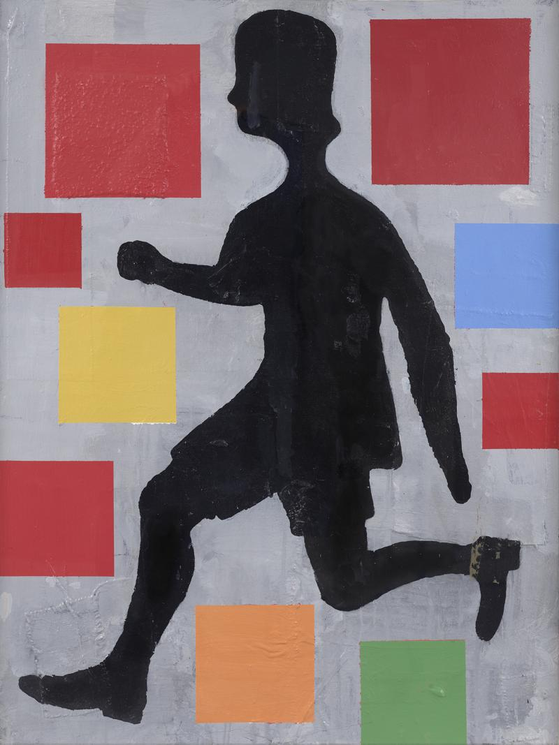Donald Baechler Five Color Abstraction with Running Figure
