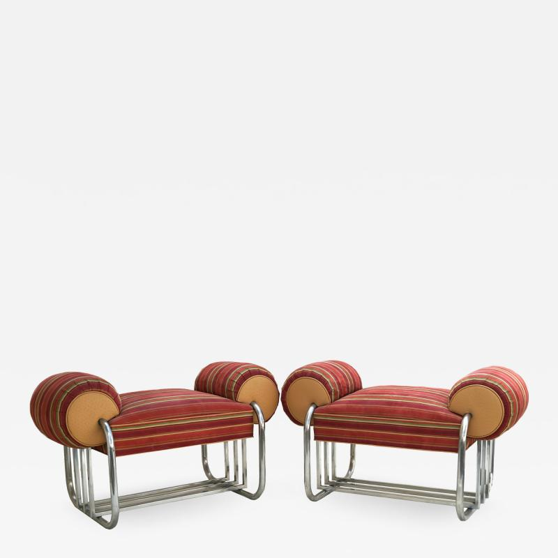 Donald Deskey Pair of Art Deco Machine Age Tubular Chrome Bench Benches by Donald Deskey