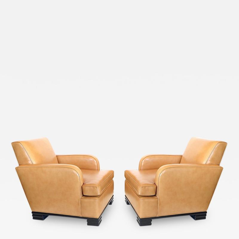 Donald Deskey Pair of Club Chairs by Donald Deskey For Radio City Music Hall