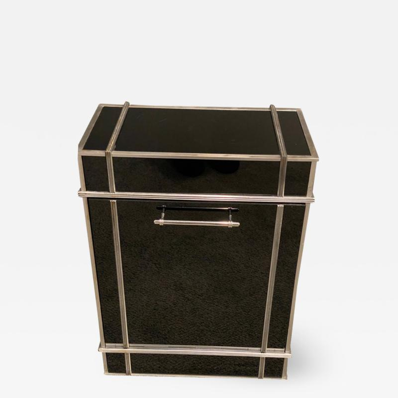 Donald Deskey RARE ART DECO SKYSCRAPER VITROLITE AND NICKELED BRONZE HAMPER