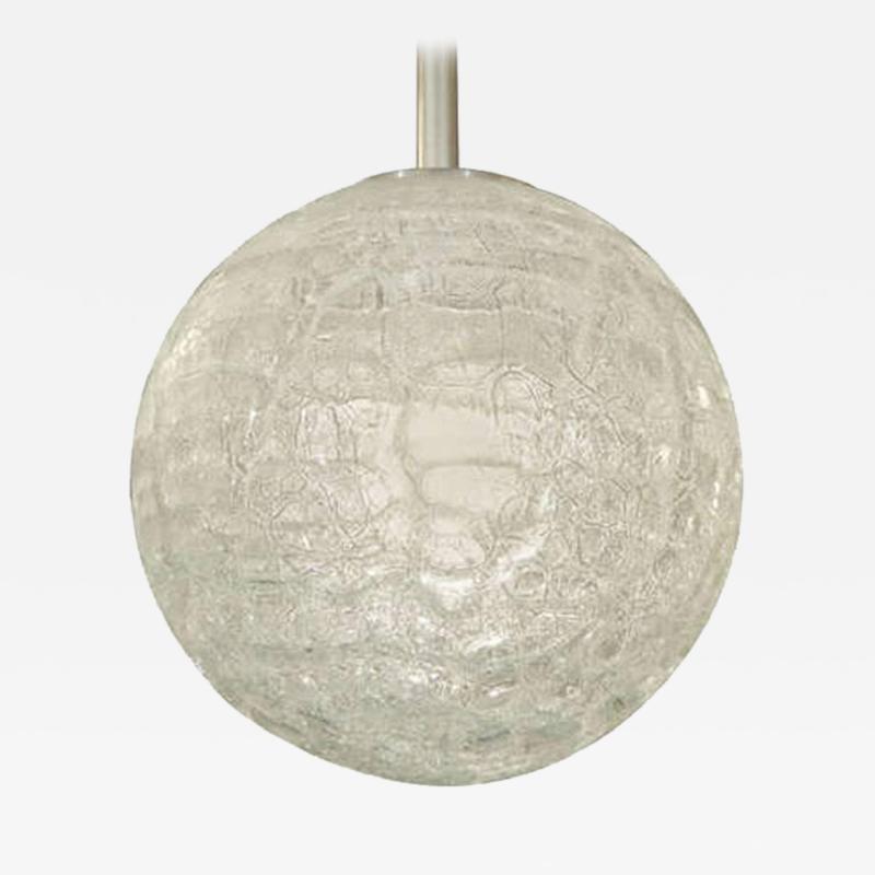 Doria Leuchten Large Doria Organic Crackle Glass Globe Pendant