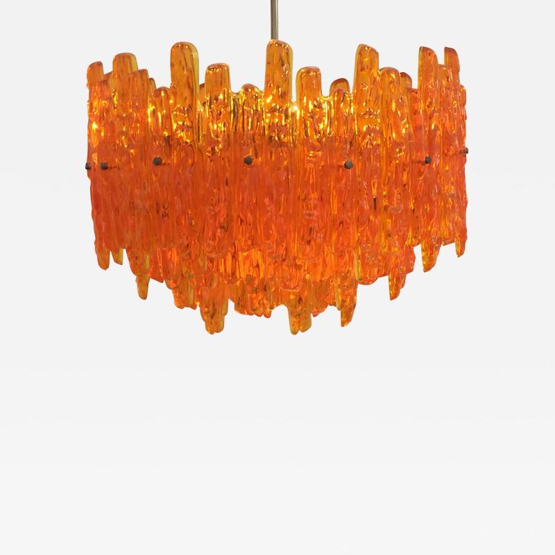 Doria Leuchten Mid Century Orange Acrylic Icicle Chandelier