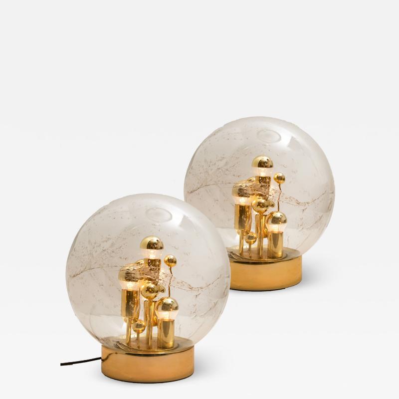 Doria Leuchten Pair of Large Hand Blown Bubble Glass Doria Table Lamps 1970