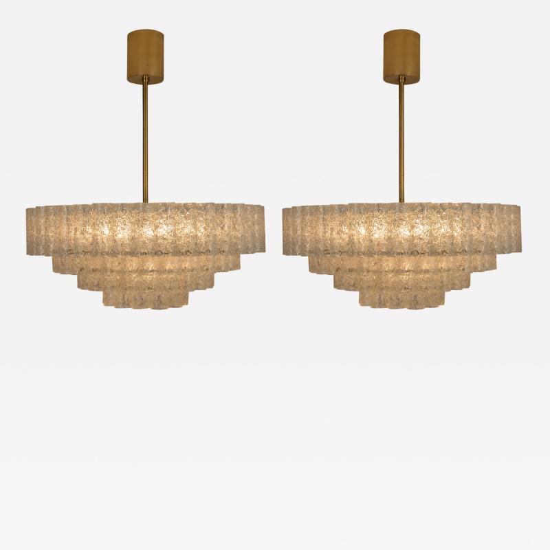 Doria Leuchten Pair of Large Murano Glass Chandeliers by Doria 1960s