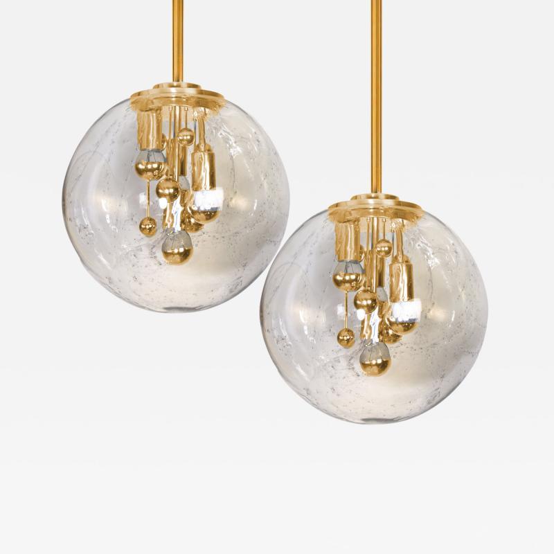Doria Leuchten Pair of Space Age Brass and Blown Glass Lights By Doria 1970s