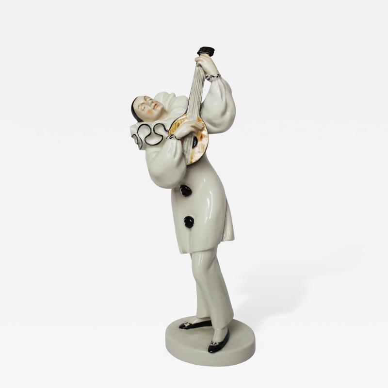 Dorothea Charol A Fine Figure of a Pierrot with Lute from Schwarzburger Werkstatten