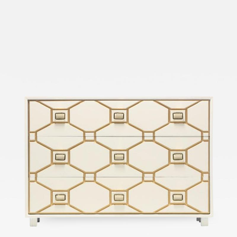 Dorothy Draper Dorothy Draper Viennese Collection Ivory Chest with Gold Incised Drawers