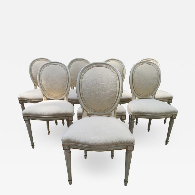 Dorothy Draper Lovely Set 8 Dorothy Draper style Fluted Leg Dining Chairs Hollywood Regency