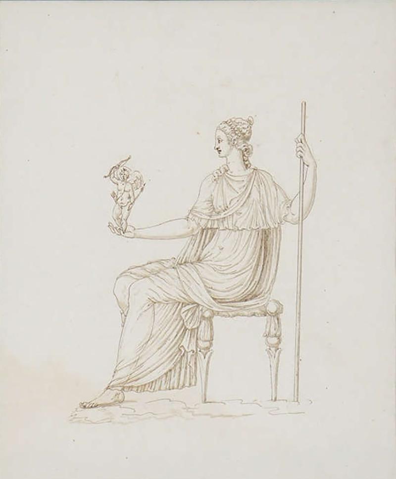 Drawing of Venus Holding Cupid