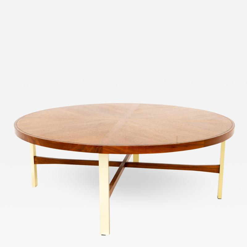 Drexel Heritage Mid Century Walnut and Brass Round Coffee Table