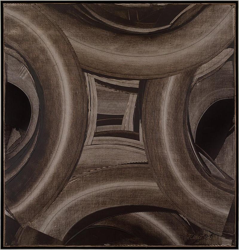 Duayne Hatchett Abstract Black and White Trowel Painting by Duayne Hatchett