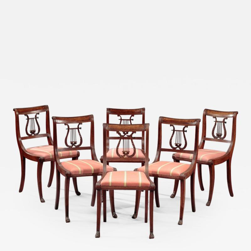 Duncan Phyfe Set Of Six Lyre Back Side Chairs Attributed