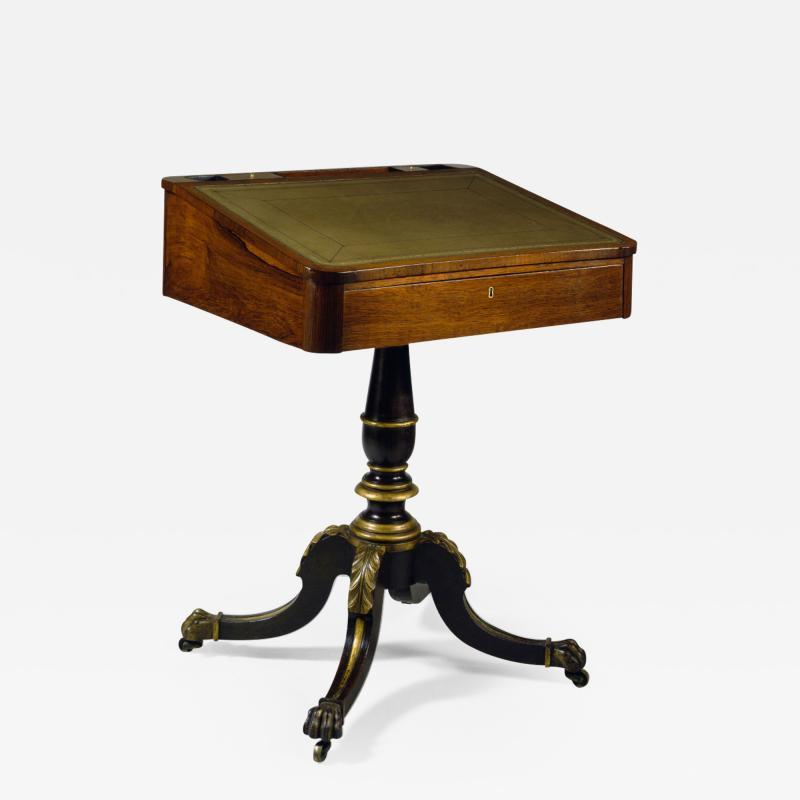 Duncan Phyfe Slant Top Pedestal Desk