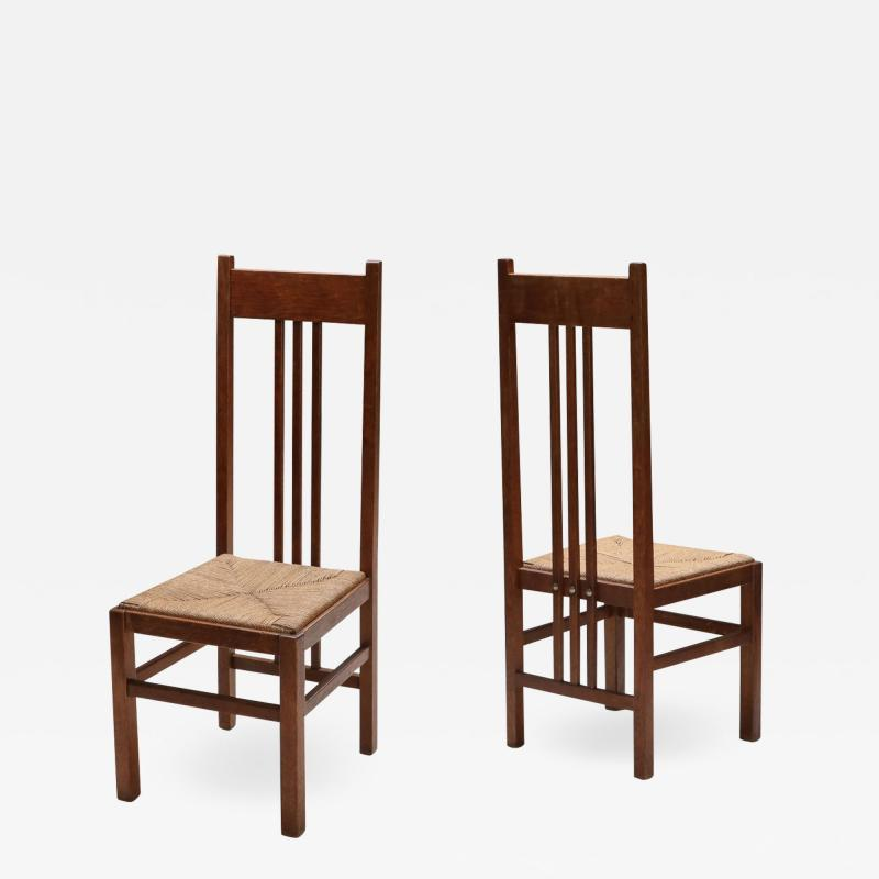 Dutch Modernist High Back Chairs with Cord Seating 1920s
