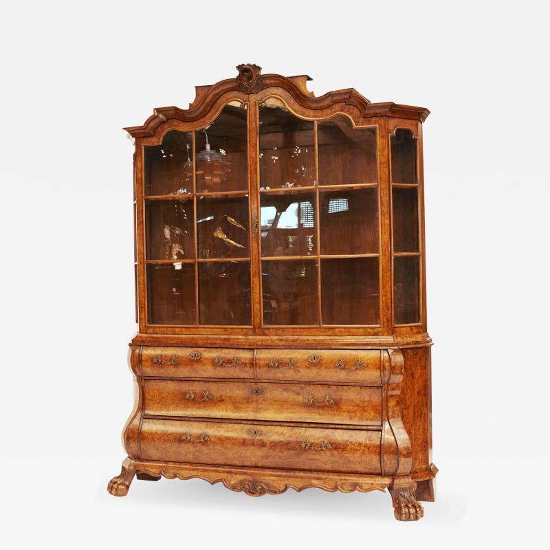 Dutch Rococo Burl Walnut Bookcase Cabinet circa 1770s