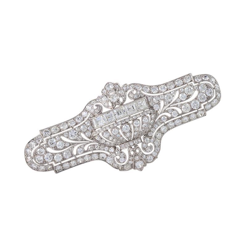 E M Gattle Co E M Gattle Co Art Deco Diamond and Platinum Brooch