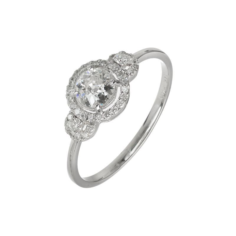 EGL Certified Three Stone Diamond Halo Gold Engagement Ring