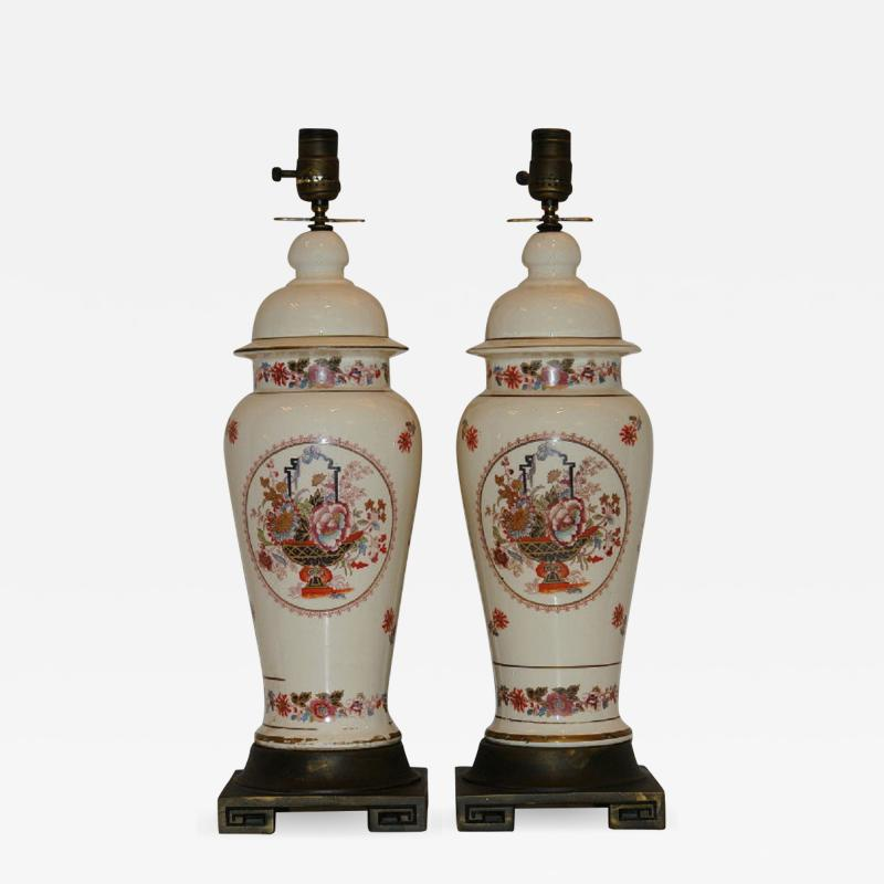 ENGLISH FLORAL CHINOISERIE TABLE LAMPS