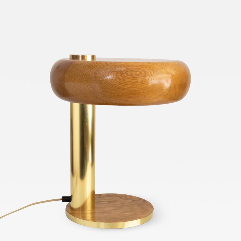 EUROPEAN MID CENTURY OAK AND BRASS DESK LAMP