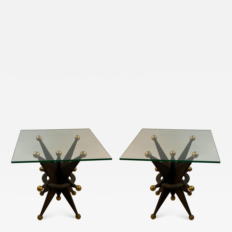 EXCEPTIONAL PAIR OF ITALIAN BRUTALIST RESIN STAR AND GOLD BALL TABLES