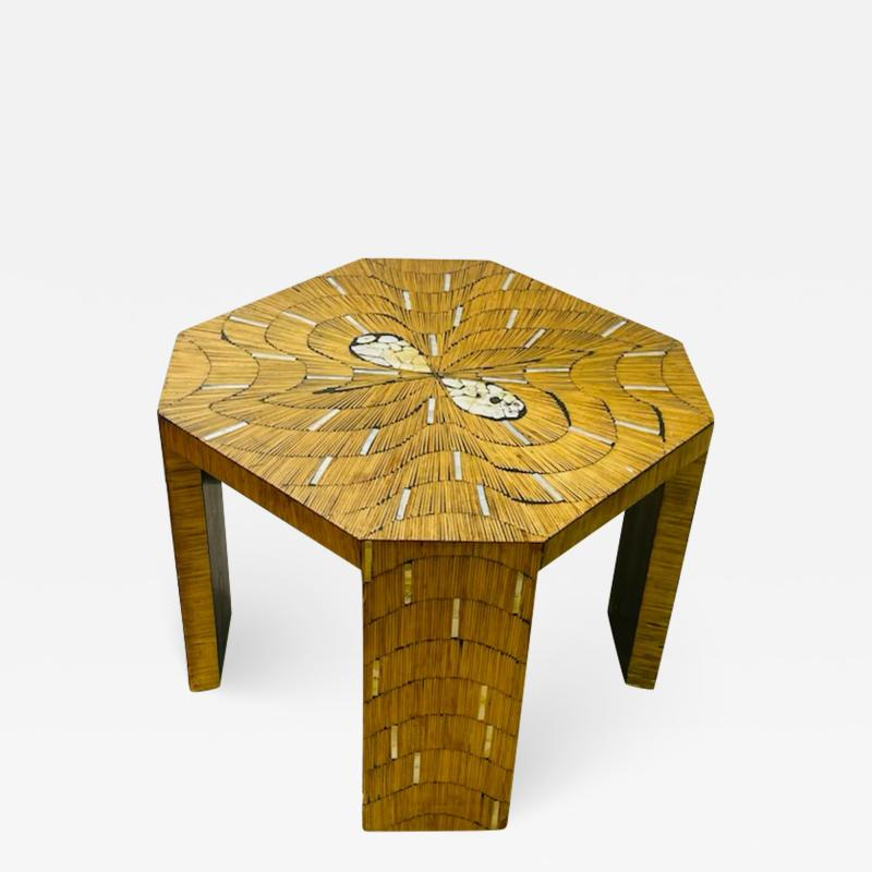 EXCEPTIONAL WOOD TABLE WITH INLAID MOTHER OF PEARL DESIGNS