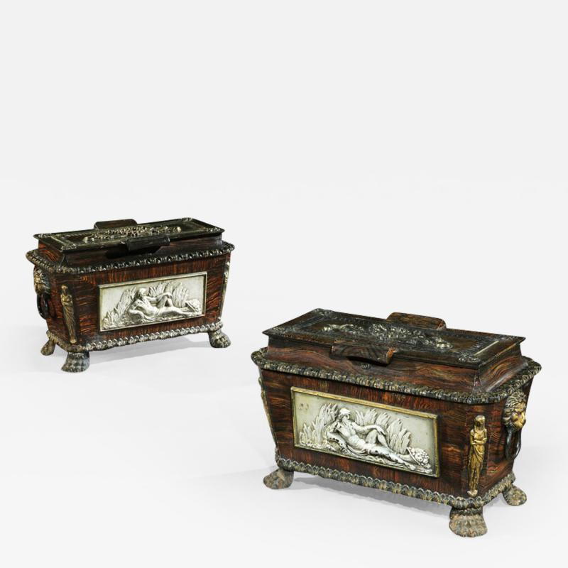 EXTREMELY RARE PAIR OF REGENCY CAST IRON SARCOPHAGUS SHAPED STRONG BOXES