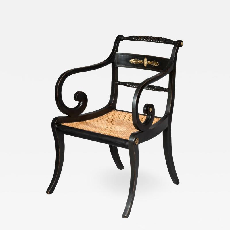 Early 19th Century English Regency Black Painted Klismos Armchair Desk Chair