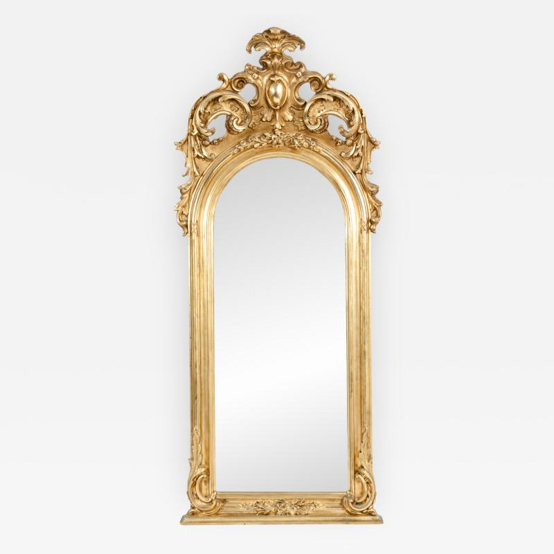 Early 19th Century Hand Carved Giltwood Crown Top Wall Mirror