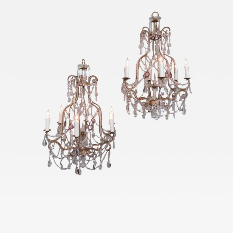 Early 20th C Italian Piedmont Crystal and Amethyst Chandeliers